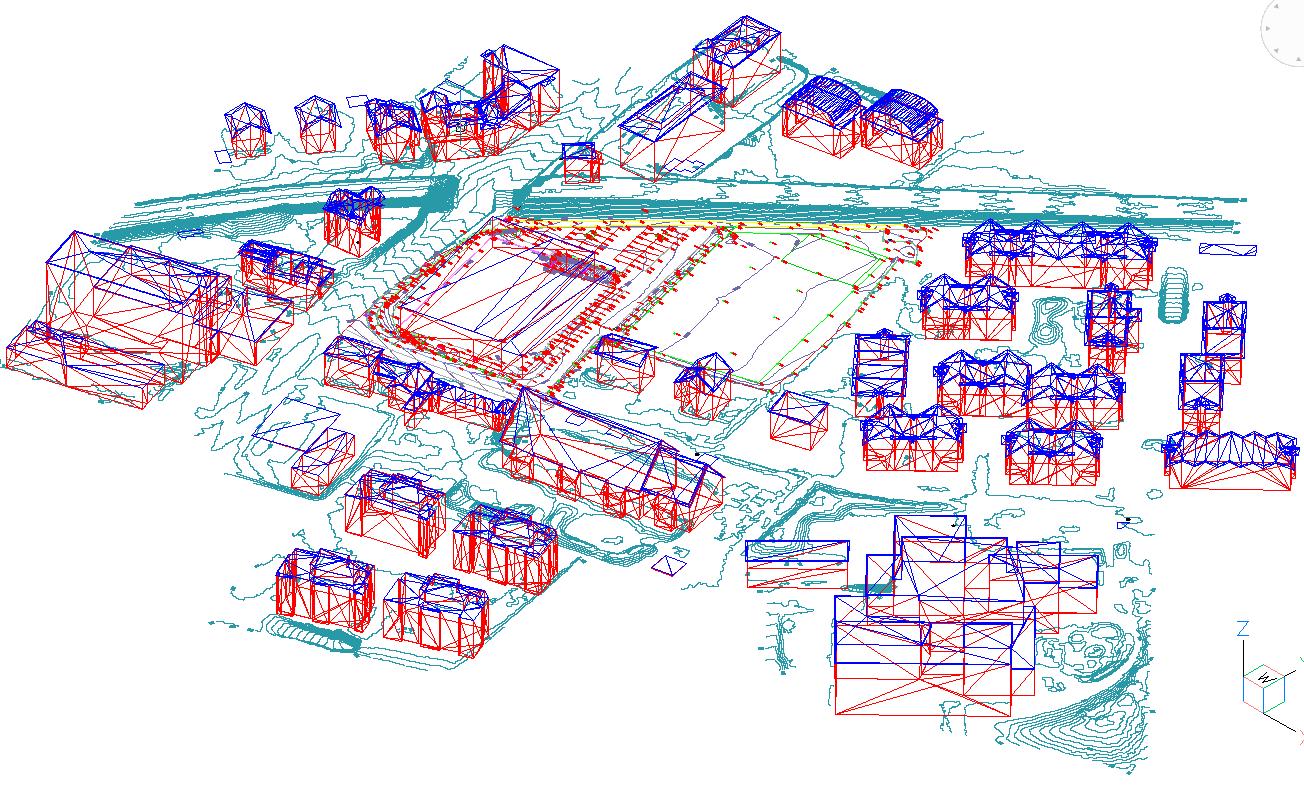 Digitales Geländemodell mit Dachlandschaften Sportanlage Schadau